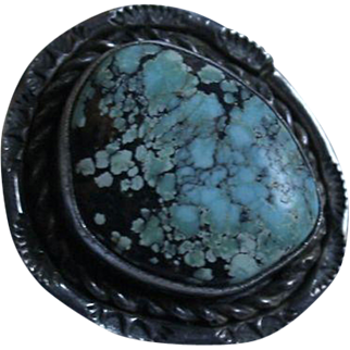 Navajo Blue & Black Turquoise Chunky Sterling Silver Ring Size 7.5 Native American
