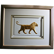 """Lion"" by Waldorf Astoria NYC Artist Harris G Strong Framed 3D Fine Art Tile Legendary Ceramic Mid Century Artist"
