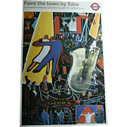 """1980s London Underground Nightlife """"Paint The Town By Tube"""" Original Lithograph Art Poster Jazz Dancing Theater Picadilly Circus"""