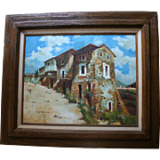 Taos New Mexico Pueblo Landscape Oil Painting by Listed American Artist Rex Dawson Original Artwork