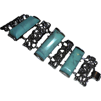 "Huge Chunky Faux Turquoise 2"" wide Panel Bracelet Unsigned Selro"