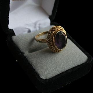 18K Gold Amethyst 4.5 Carat Size 7 Ring