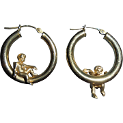 14K Gold Cherub Angel Figural Hoop Earrings Peter Brams