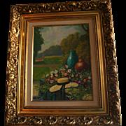 Floral Garden Scene Original Landscape Oil Painting in Ornate Gilt Frame Signed
