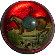 Equestrian Victorian Lady Riding Side Saddle Domed Glass Bridle Rosette as Pin Brooch Fox Hunting Steeple Chase Horse Dog