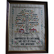 """The Happiness Tree"" Vintage Sampler Framed Faith Hope Charity Textile Folk Art"