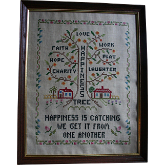 """The Happiness Tree"" Vintage Sampler Framed Faith Hope Charity Textile Folk Art"