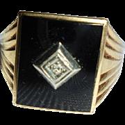 10K Gold Men's Ring with Onyx and Diamond Center Art Deco Era Size 11
