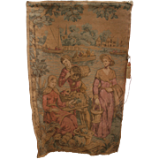 """Antique French Tapestry Harvest Scene Wall Hanging 50"""" x 35"""" inch Made in France"""
