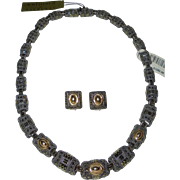 """""""14 Karats"""" by Judith Jack Rare 14K Gold, Sterling & Marcasite Necklace & Earrings Set Never Worn with Orig Tags"""