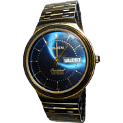 Rare Blue Mens Gruen Precision Vintage Wrist Watch Date Calender  Swiss Parts Beautiful Condition