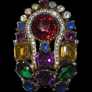 "Ultra Rare Eisenberg Large Rhinestone Multi-Color Crystal 3"" inch Brooch Signed"
