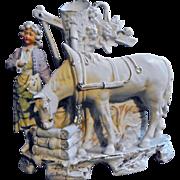 Antique Unger Schneider & Cie Girl Watering Her Horse Sculpture Bisque Porcelain Germany Spill Vase Figurine