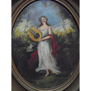 Antique Oil Painting Portrait Goddess of Music Playing Lyre