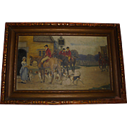 Antique Oil Painting England Fox Hunting Horses Dogs