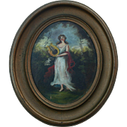Antique Oil Painting Portrait Young Woman Playing Harp