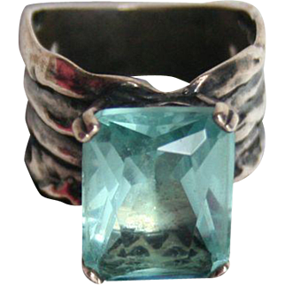 Solid Sterling Silver Aquamarine Blue Glass Emerald Cut Cocktail Ring Size 8.5