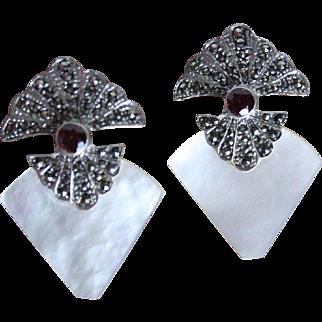 Art Deco Style Sterling Garnet Mother of Pearl Marcasite Dangle Earrings
