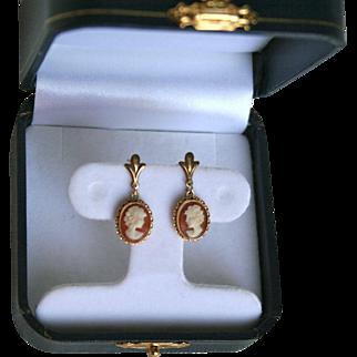 14K Gold Genuine Cameo Pierced Earrings