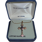 14k Yellow and White Gold-Filled Crucifix Pendant Necklace Cross in Orignal Box Catholic Christian Religious