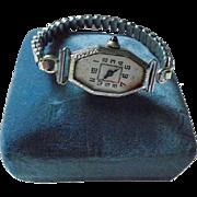 18K White Gold Iconic Swiss Watch Maker Ebel Art Deco  Ladies Watch Sapphire Crown Manual Wind