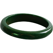 Vintage Forest Green Bakelite Bangle Cuff Bracelet