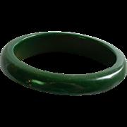 Vintage Forest Green Bakelite Bangle Cuff Bracelet