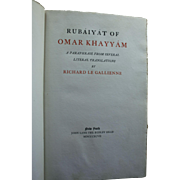 Signed Antique Rubaiyat of Omar Khayyam Richard Le Gallienne 1897 Limited Edition Brentano's Bookstore Label NYC Friend Oscar Wilde