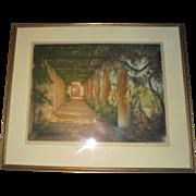 1923 William A Lambrecht Paris Garden Large Aquatint Etching Hand Signed Pub by Les Gravures Modernes Paris