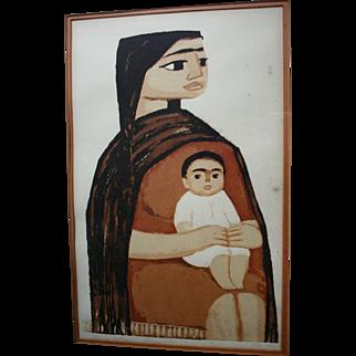 "Dallas Nine Artist Thomas Stell ""Mexican Mother"" 1966 Portrait Signed Original Listed Texas Regionalist Artwork Silkscreen"