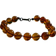 Baltic Amber with Inclusions Bead Sterling Bracelet Gorgeous