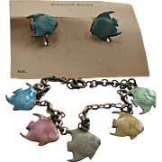 Sterling Silver Guilloche Enamel Angel Fish Charm Bracelet & Screwback Earrings Set