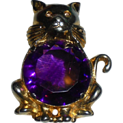 Rare 1940's Cat Figural Fur Clip Brooch Jelly Belly Faceted Amethyst Colored Glass Center