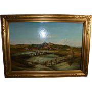 19Th C Longstock England Eel Trap Bridge Antique Oil Painting with 19th Century London Provenance
