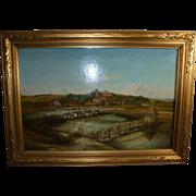 Longstock England Eel Trap Bridge Antique Oil Painting with 19th Century London Provenance