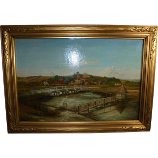 Longstock England Eel Trap Bridge Antique Oil Painting with 19th Century London Provenance