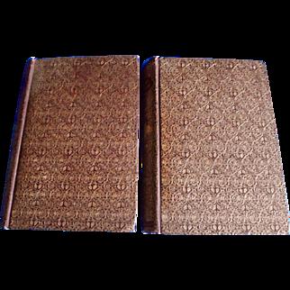"Dumas ""Ange Pitou"" 1897 Marie Antoinette Romances Elaborate Gold Gilt Decor Vol 1 & 2 Book Set Illustrated French France Literature"