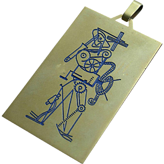 18K Gold Italian Film Festival First Prize Award Pendant Modernist Picasso Style Enamel Projectionist Artwork 1960s Rare