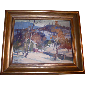 Canadian William Garnet Hazard (1903 ~ 1987) Sascatchuan Landscape Canada Well Listed Artist Oil Painting