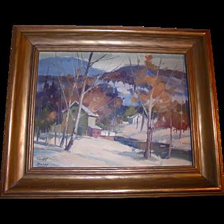 Canadian Landscape by William Garnet Hazard (1903 ~ 1987) Sascatchuan Canada Fall Autumn Winter Plein Air Scene Well Listed Artist Original Oil Painting