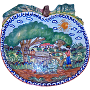 Beautiful Painted Terracotta Apple Shaped Fruit Centerpiece Bowl Farmer & Ox Landscape Artist Signed Olaria Flosa Redondo Portugal Folk Art Faience