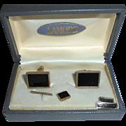 Vintage Lamode Onyx Cufflinks Set Old Store Stock in Original Box