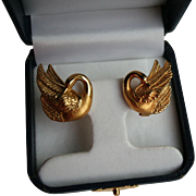 Chunky 18K Gold Omega Back Charles Garnier Figural Swan Pierced Earrings