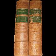 "1868 ""Stratford"" William Shakespeare Leather & Gilt Marbled 2 Volume Antique Books Set by D. Appleton Book Pub."
