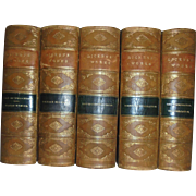 Antique Charles Dickens Leather and Marbled Books 5 Volume Set