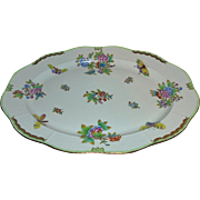 "**Reserved for H*** Pristine Herend 16"" Queen Victoria Large Serving Tray Butterflies & Flowers Design Hungary Hvngary"
