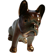 Beautiful French Bulldog Porcelain Vintage Figurine with Gold Trim