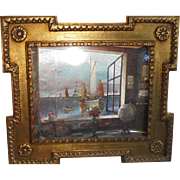 Ornate Gilt Frame Mid-Century Foil Print Interior Scene with Globe and Ships