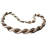 Massive Solid Sterling Silver Twisted Rope Chain Necklace Heavy