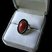Genuine Oxblood Coral Navajo Sterling Silver Ring Size 6